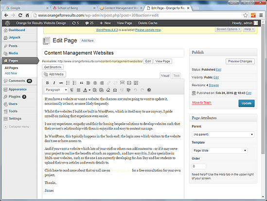 This is the editing page for this very web page.